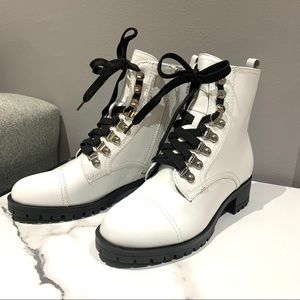 Nine West white leather Wren combat boots